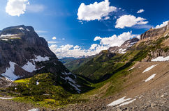 Landscape view in Glacier National Park at Logan Pass Stock Photos