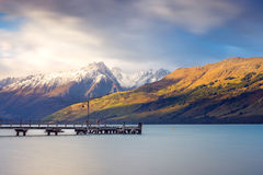 Landscape view of Glenorchy wharf, lake and moutains, New Zealan Royalty Free Stock Images