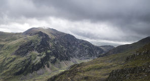 Landscape view of Glyder Fawr peak in Snowdonia from halfway up Royalty Free Stock Image