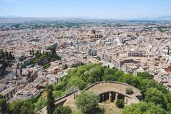 Landscape view of Granada from Alhambra palace. stock images
