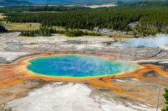 Landscape view of Grand Prismatic spring in Yellowstone NP Stock Photos
