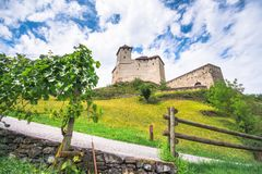 Landscape view of Gutenberg castle at Balzers village in Liechtenstein. Landscape view of Gutenberg castle at Balzers village in Liechtenstein at a cloudy day Stock Images
