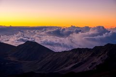 Landscape view of Haleakala national park crater at sunrise, Maui Stock Photo
