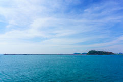 Landscape view of harbor and blue Sea and islan Royalty Free Stock Photography