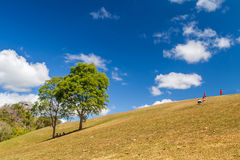 Landscape view of hill of Doi Samer Dow mountaintop with blue sky Royalty Free Stock Image