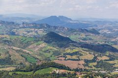 Landscape view of hills in Emilia Romagna, Italy Stock Photos