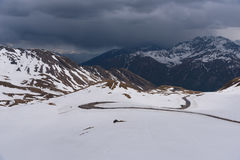 A landscape view from Hochtor tunnel on the Grossglockner high alpine road. Looking towards Heiligenblut in Carinthia Stock Photo