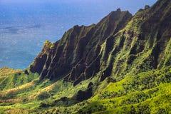 Landscape view of Kalalau valley cliffs at Na Pali coast Stock Photos