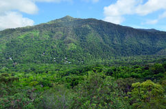 Landscape view from Kuranda Scenic Railway in Queenland Australia. Dramatic landscape view from Kuranda Scenic Railway in the tropical north of Queensland stock image