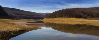 Landscape view of the lake Mav. The lake Mavrovo in Macedonia stock images