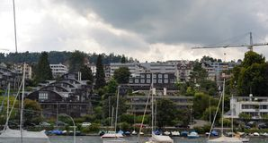 Landscape view from Lake Zurich, Modern buildings Stock Photography