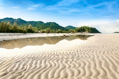 Landscape view of leading line of sand waves Royalty Free Stock Photo