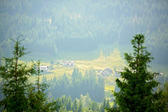 Landscape view of a little village in Swiss Alps on sunset Royalty Free Stock Photos