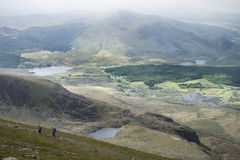 Landscape view of Llyn Cwellyn and Moel Cynghorion in Snowdonia Stock Images