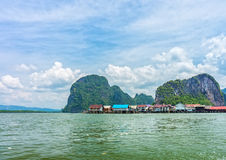 The landscape view of local thai village in Phang Nga bay Royalty Free Stock Images