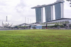 Landscape view of marina bay sands. With green grass Stock Photography