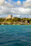 Landscape view of Mayan ruins at ocean coast of Tulum Royalty Free Stock Photo