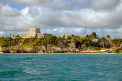 Landscape view of Mayan ruins at ocean coast of Tulum Royalty Free Stock Image