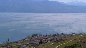 Landscape view of Montreux city with Swiss Alps, lake Geneva and vineyard. Switzerland stock video
