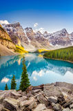 Landscape view of Moraine lake in Canadian Rocky Mountains. Landscape view of Moraine lake and mountain range at sunset in Canadian Rocky Mountains royalty free stock photo