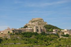 Landscape view of Morella, an ancient walled city on a hill top royalty free stock photography