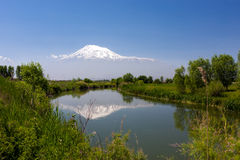 Landscape view of the Mount of Ararat reflected in the river of. View of the Ararat Valley with reflection of the Mount of Ararat in the Sev Jur (Black Water Stock Image