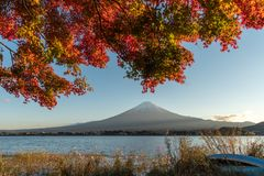 Landscape of view the Mount Fuji and Bright red maple leaf frame. Kawaguchiko In the morning is a tourist attraction of Japan. In a small town stock photos