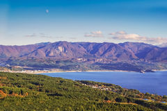 Landscape view of mountain and Japan sea Royalty Free Stock Photos