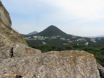 Landscape. The view from the mountain Medovaya on the city of Zheleznovodsk and mount Razvilka Stock Photos
