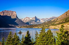 Landscape view of mountain range in Glacier NP, Montana, USA Royalty Free Stock Photos