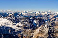 Landscape view of mountain range at Rocky mountains, Alberta, Canada. Landscape view of mountains range at Rocky mountains, view from Mt Temple, Alberta, Canada Stock Image