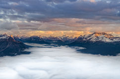 Landscape view of mountain range at sunrise, Canada Royalty Free Stock Photo