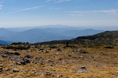 Landscape with view of mountains in gradient, landscape of the interior of Portugal, Natural Park of Serra da Estrela, Manteigas royalty free stock photo