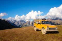 Landscape view with mountains and offroad car, Svaneti national park Stock Images