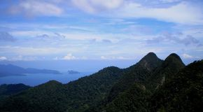 Landscape View of Mountains, Sky and sea Vistas Stock Images