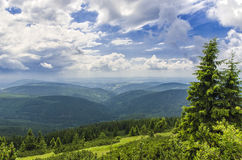 Landscape view. View from the mountains to the Czech countryside Royalty Free Stock Photography