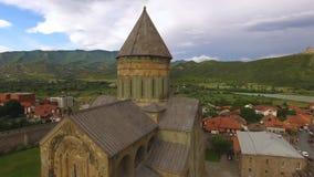 Landscape view of Mtskheta city center, Svetitskhoveli church captured by drone. Stock footage stock footage