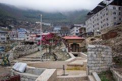 Landscape view of Namche Bazaar city center. Sagarmatha Everest National Park, Nepal royalty free stock images