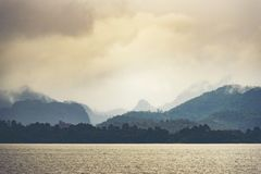 Landscape view of nature, mountain forest with lake, Thailand stock photography