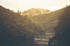 Landscape view of nature, mountain forest with lake, Thailand stock images