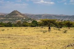 Landscape view near the Blue Nile falls in Amara region of Ethiopia, Africa royalty free stock photo