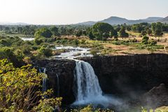 Landscape view near the Blue Nile falls, Tis-Isat in Ethiopia, Africa royalty free stock image