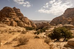 Landscape view near Little Petra, Jordan royalty free stock images