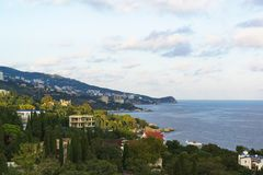Landscape view from the observation deck to the resort village of Alupka in the Crimea. Yalta stock image