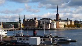 Embankment of the ancient city Stockholm royalty free stock photos