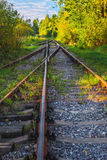Landscape view of the old railway tracks in autumn. Landscape view on the rails of the old railroad in the fall Stock Photo