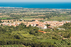 Landscape, view of old Spanish town, Costa Dorada, Tarragona. Landscape, view of old Spanish town and valley , Costa Dorada, Tarragona Royalty Free Stock Image