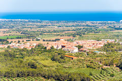 Landscape, view of old Spanish town and valley , Montbrio del Camp, Tarragona, Catalunya, Spain. Landscape, view of old Spanish town and valley , Montbrio del royalty free stock images