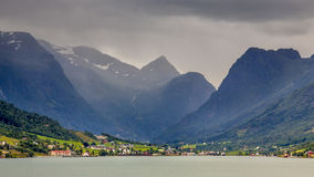 Landscape View of Olden village in Briksdalsbreen Glacial valley Royalty Free Stock Photo
