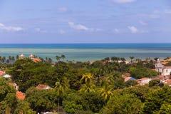 Landscape view of Olinda, Pernambuco, Brazil. Landscape of Olinda viewing churches, forest and the sea, Pernambuco, Brazil Stock Image